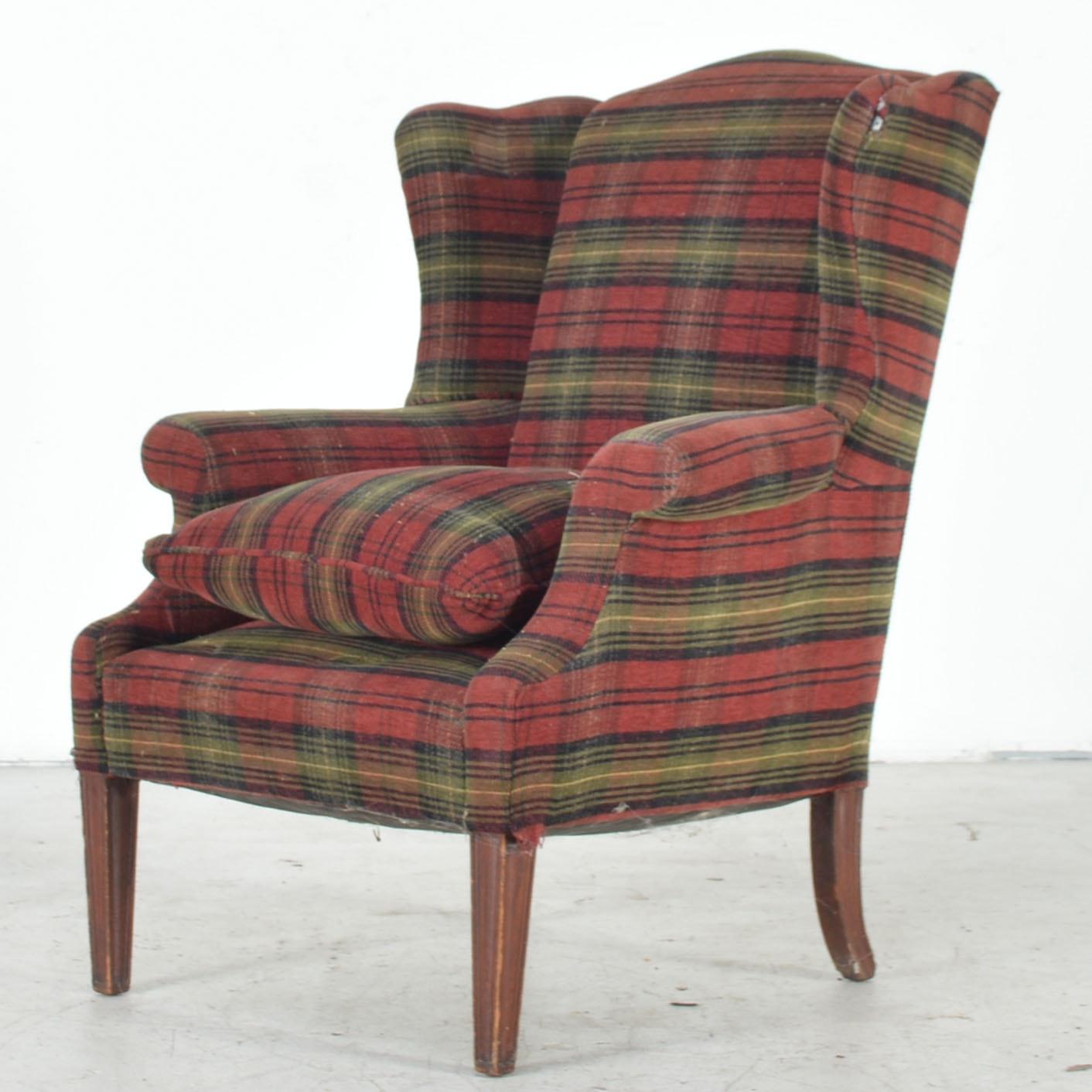 Plaid Wingback Chair Ebth