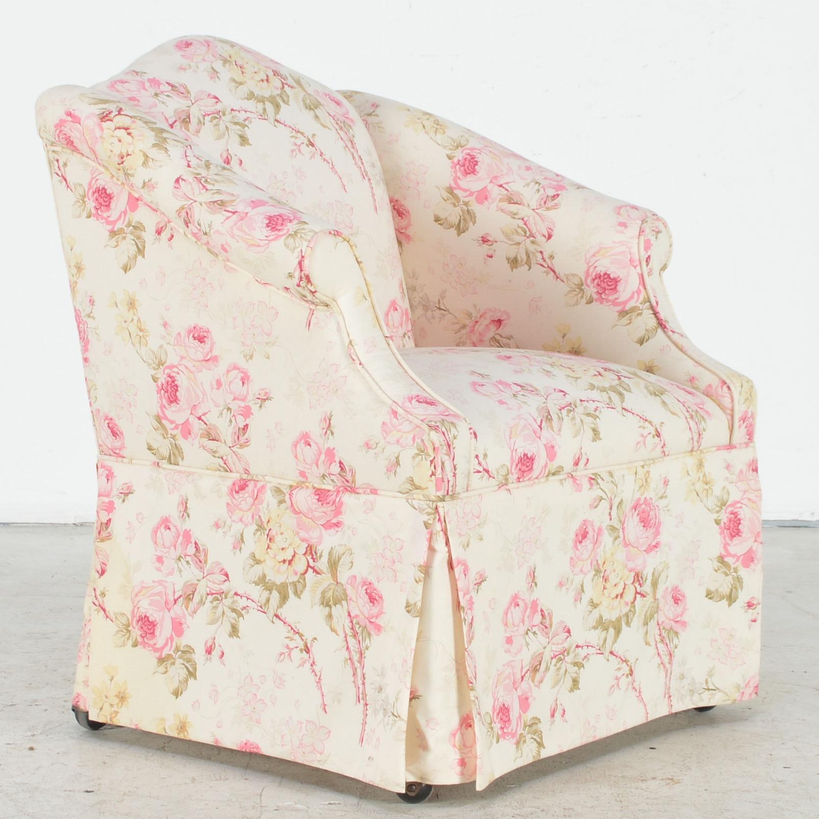 Chintz Covered Armchair On Wheels Ebth