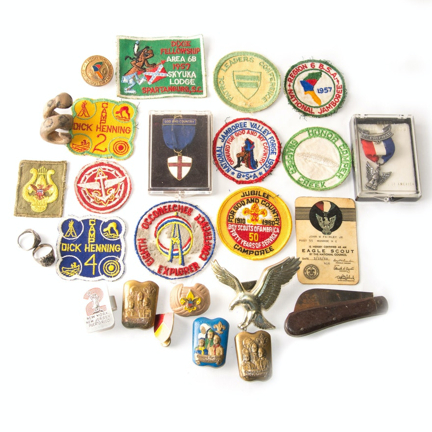 Vintage Boy Scout Items Including Sterling Silver Rings