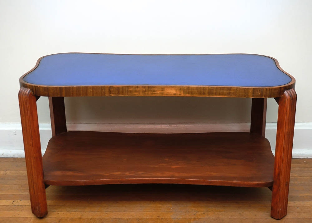 1930s Art Deco Coffee Table With Cobalt Blue Glass Top