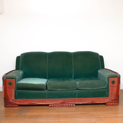 Mid Century Art Deco Mohair Sofa By Sawyers Furniture