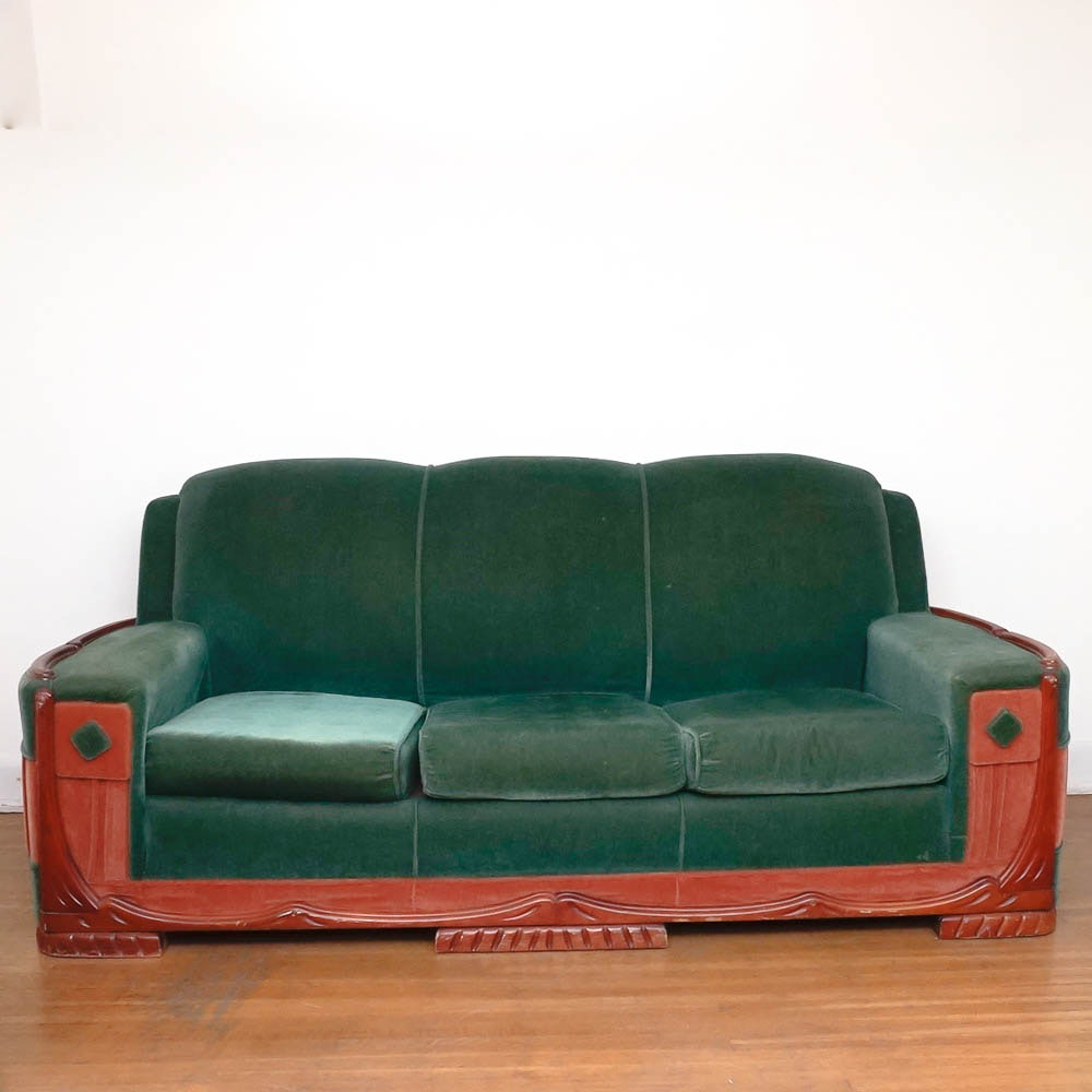 Incroyable Mid Century Art Deco Mohair Sofa By Sawyers Furniture ...
