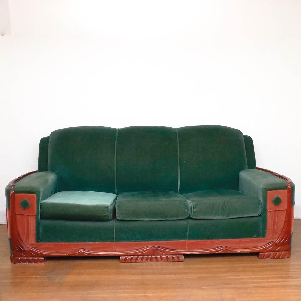 Mid Century Art Deco Mohair Sofa By Sawyers Furniture ...