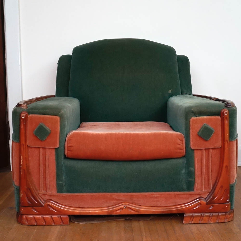 Great Mid Century Art Deco Mohair Arm Chair By Sawyers Furniture
