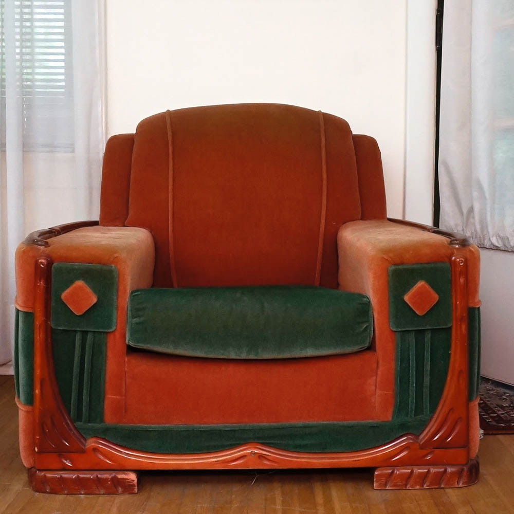 Etonnant Mid Century Art Deco Mohair Club Chair By Sawyers Furniture ...
