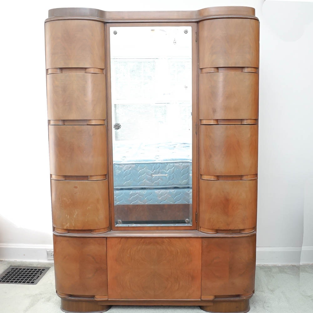 Captivating Mid Century Art Deco Armoire With Cedar Closet By Tri Bond Furniture ...