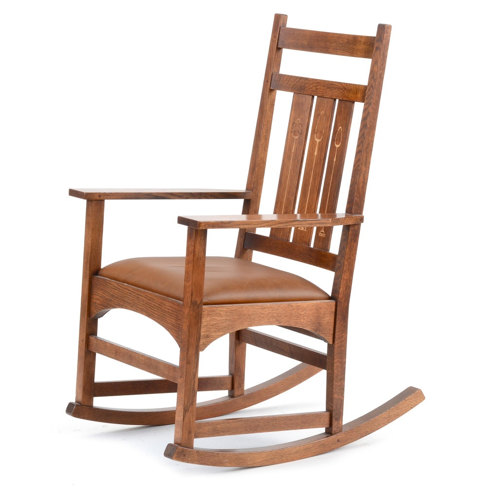 Stickley Inlaid Oak Harvey Ellis Rocking Chair ...