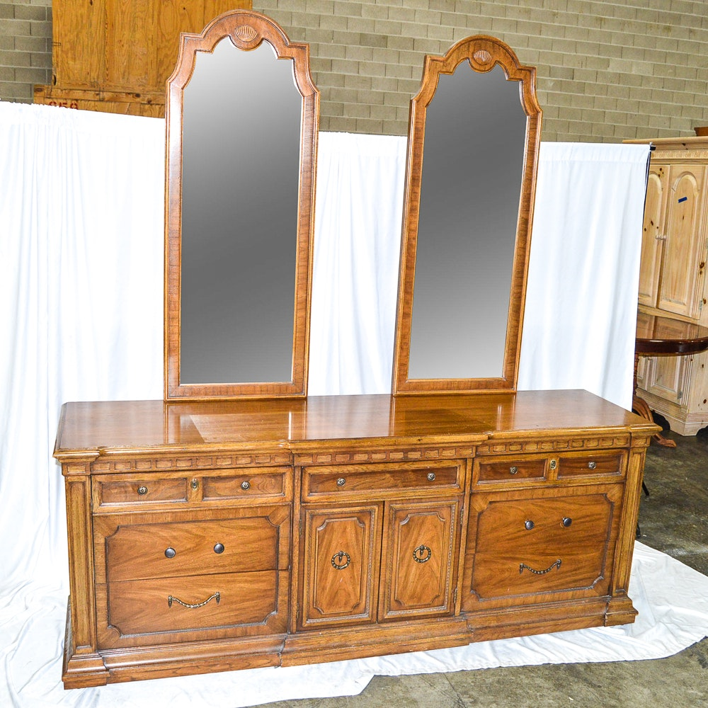 Circa 1970s Double Dresser With Mirrors By Thomasville Ebth