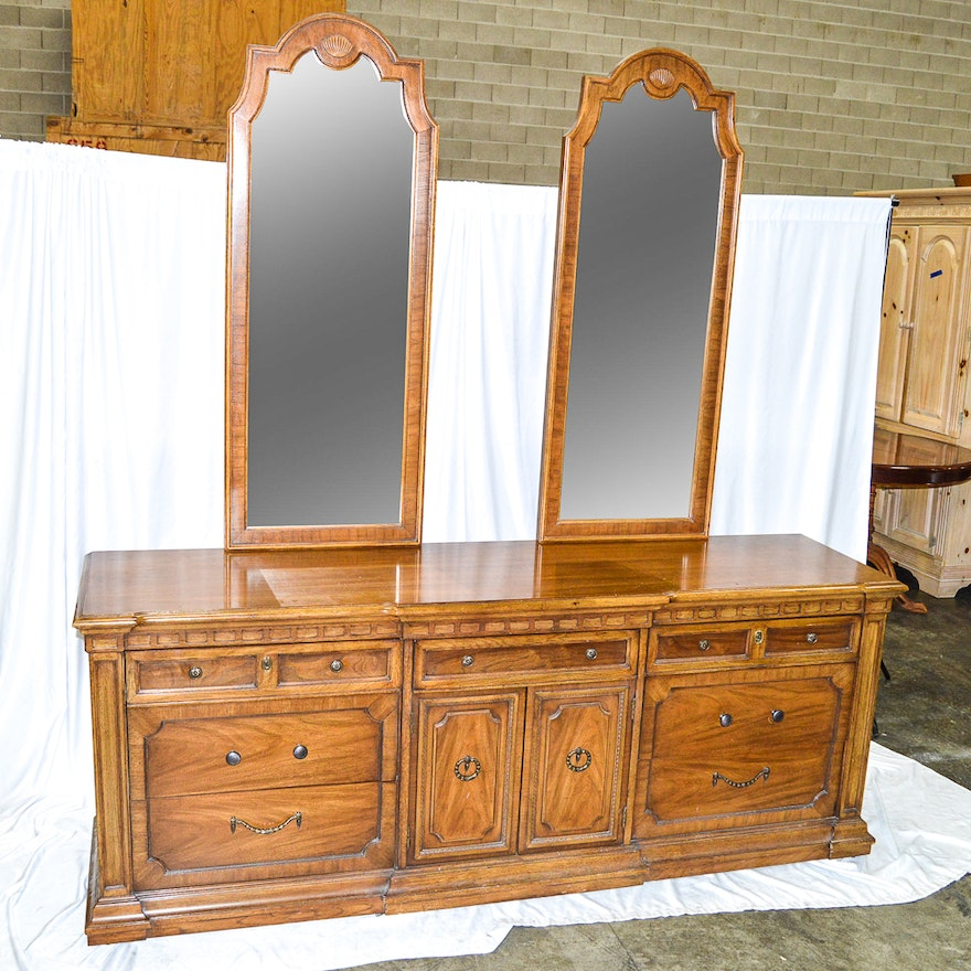 Circa 1970s Double Dresser With Mirrors By Thomasville