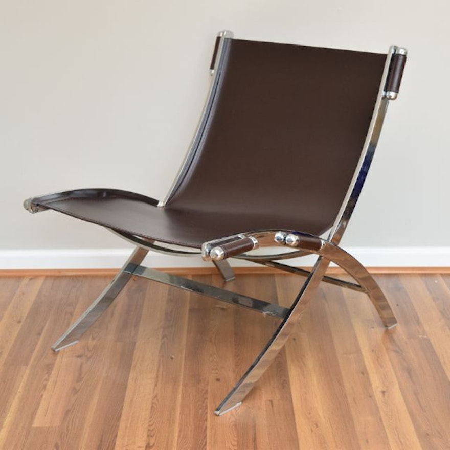 Modern Espresso Brown Leather And Chrome Sling Chair Ebth
