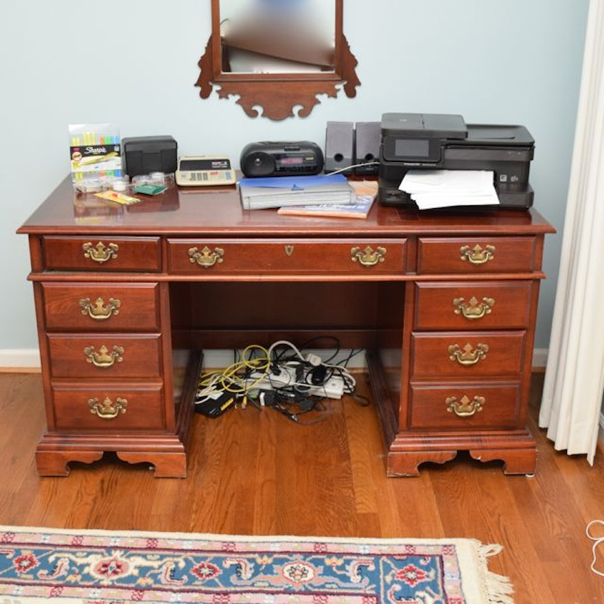 American Drew Mahogany Executive Desk With Printer And Accessories