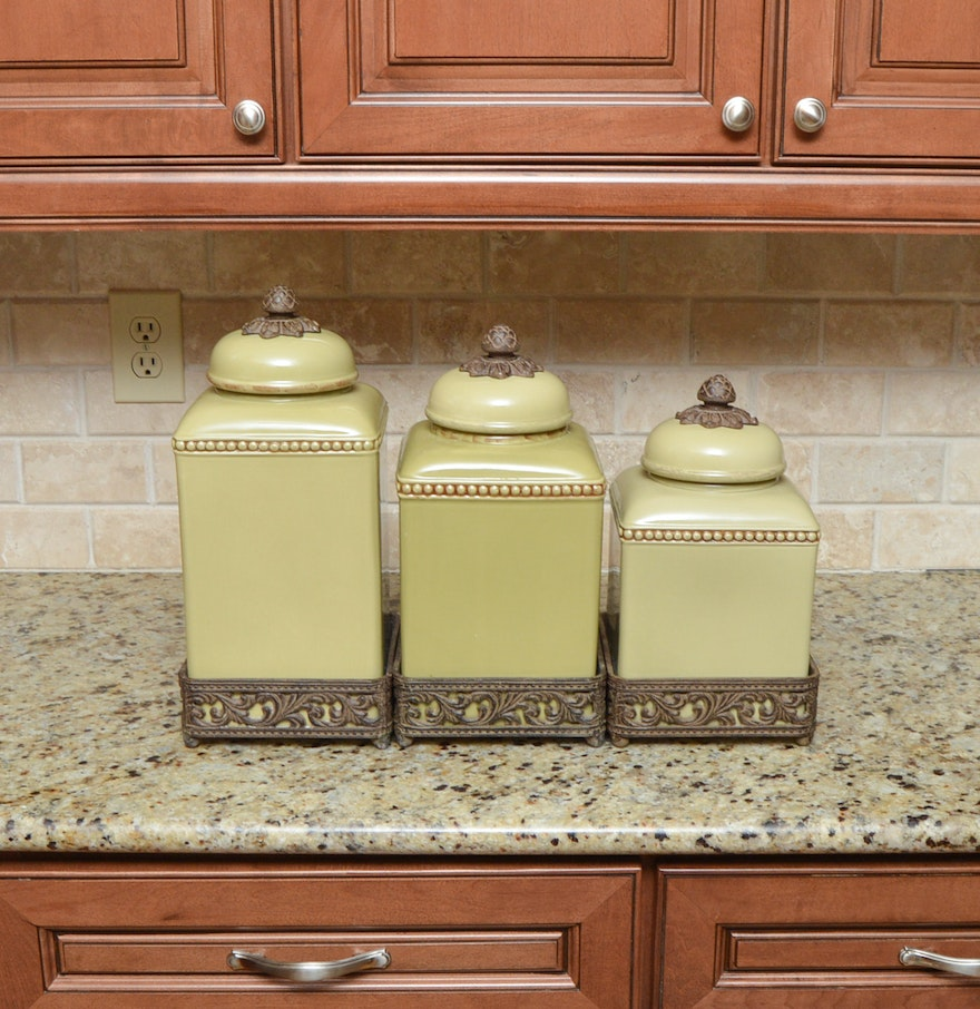 Green Canister Sets Kitchen Green Ceramic Canister Set By Gracious Goods Ebth
