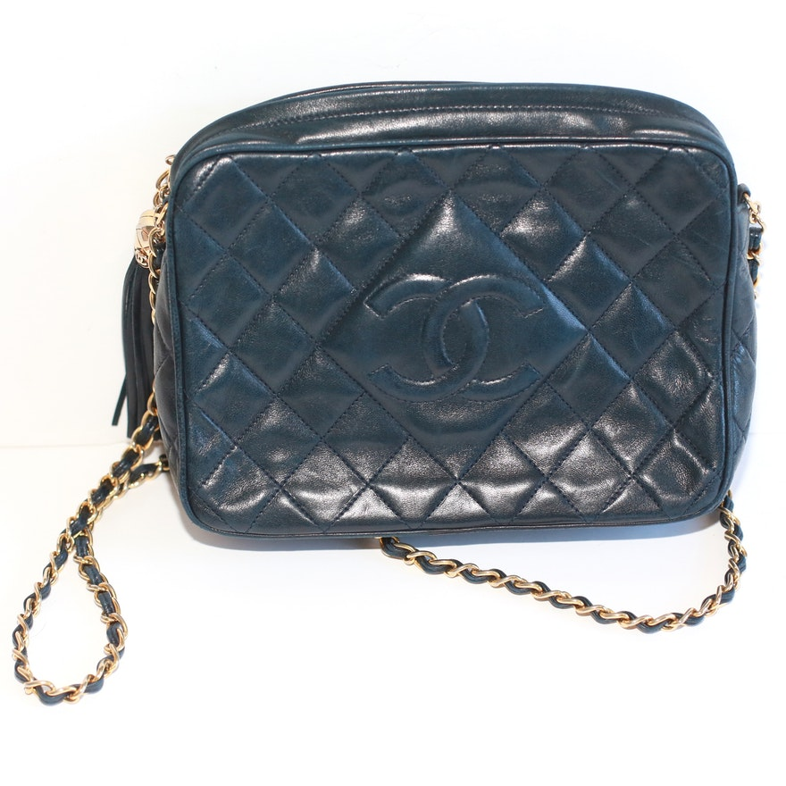 793812d6f4a190 Vintage Quilted Chanel Bag in Navy Blue Leather : EBTH