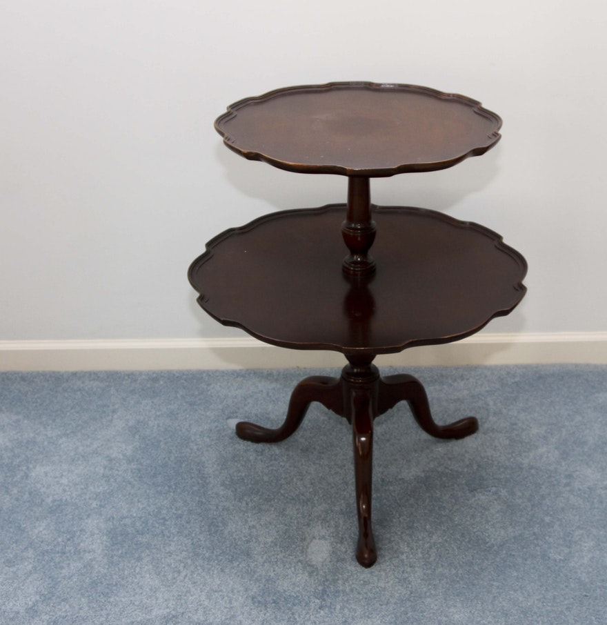 Wooden two tier pie crust table ebth