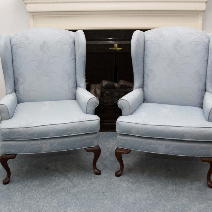 A Pair Of Key City Queen Anne Style Wingback Chairs