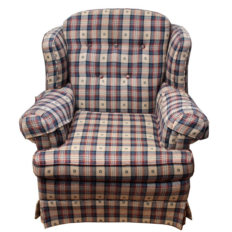 Clayton Marcus Country Plaid Wingback Chair ...