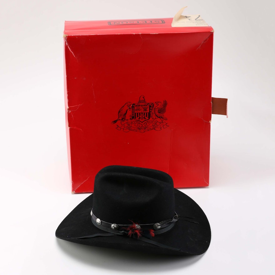 Stetson Black Stockman Hat with Red Feather   EBTH 5823c39450c