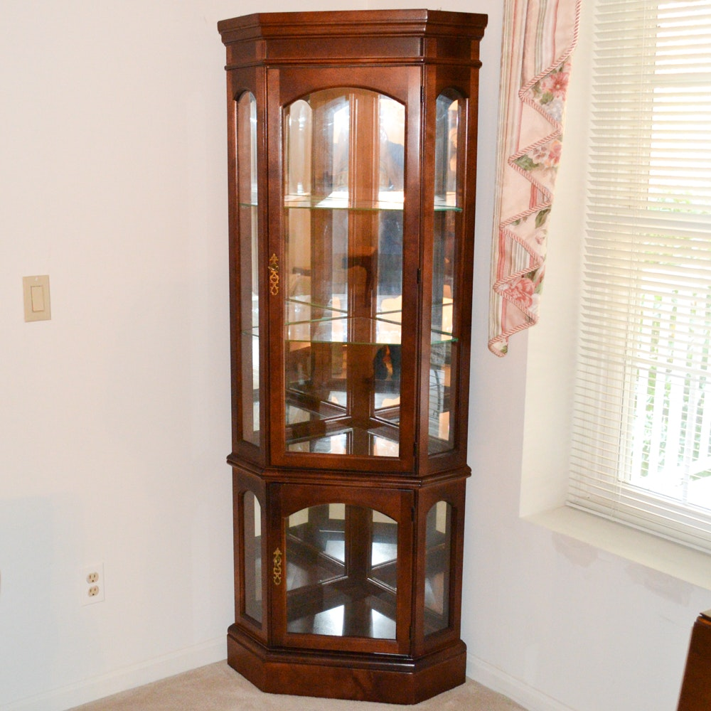 Lighted Wooden Corner Curio Cabinet
