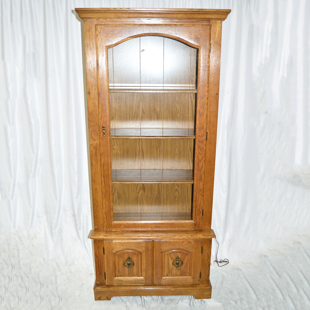 Oak Stereo Cabinet with Glass Doors EBTH