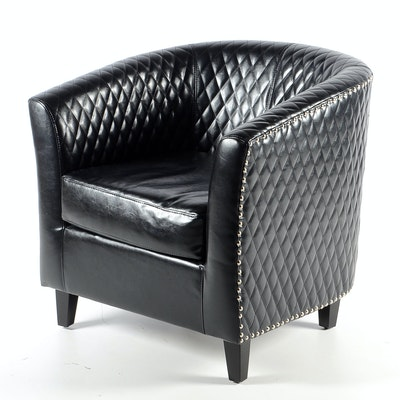 Black Leather Nail Head Bucket Chair - Vintage Chairs, Antique Chairs And Retro Chairs Auction In