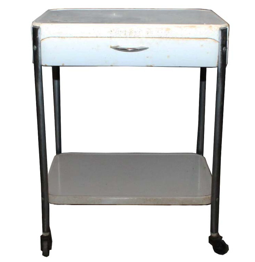 Vintage Rolling Metal Kitchen Cart Ebth