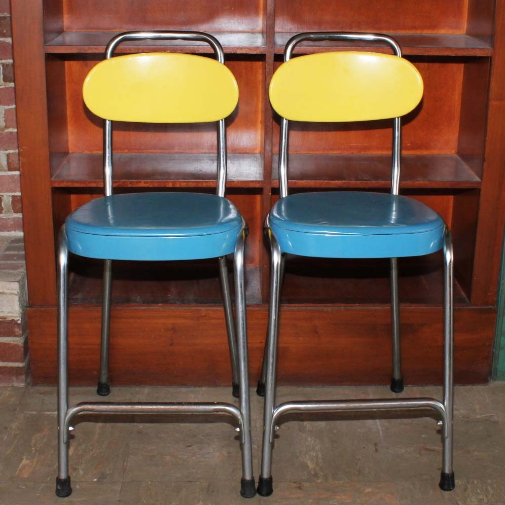 Vintage Counter Height Bar Stools With Adjustable Back Ebth