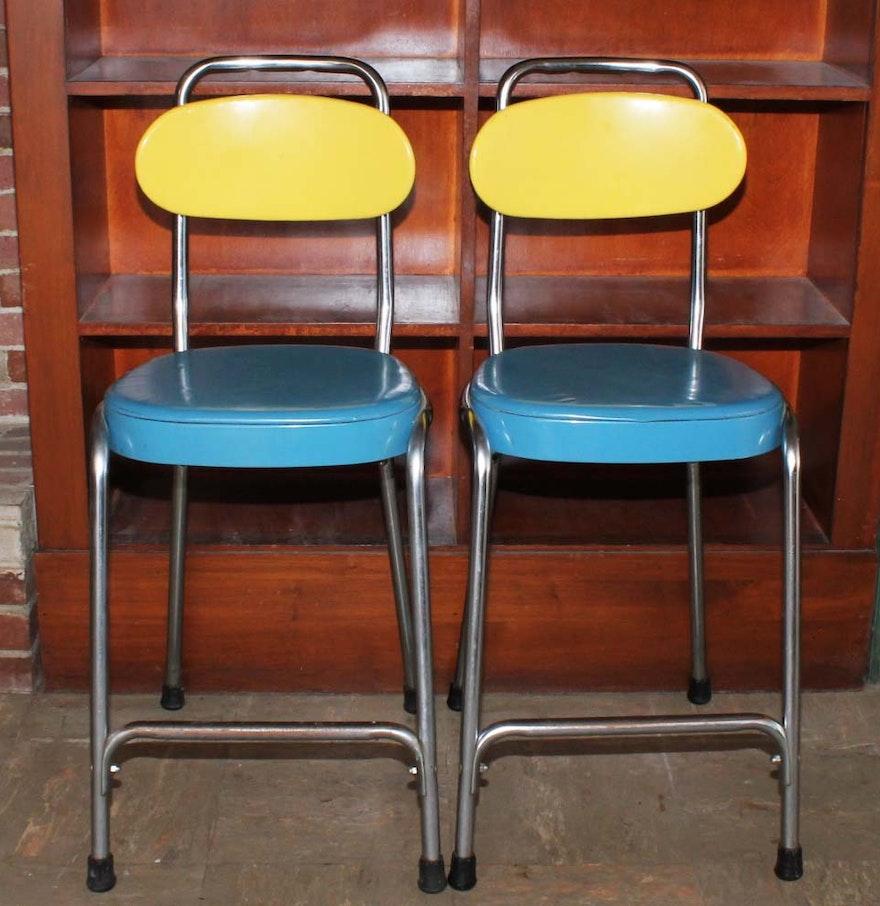 Vintage Bar Stool Adjustable Seat Height Counter Top Chair: Vintage Counter Height Bar Stools With Adjustable Back : EBTH
