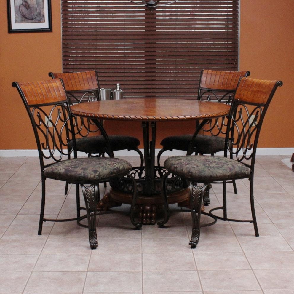 Ashley Furniture Oak Veneer And Wrought Iron Dinette Set
