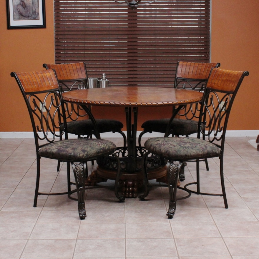 Ashley Furniture Oak Veneer And Wrought Iron Dinette Set