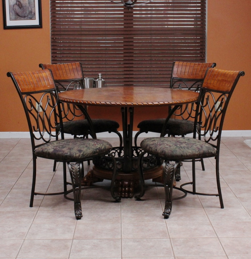 Ashley Furniture Dinette Set: Ashley Furniture Oak Veneer And Wrought Iron Dinette Set