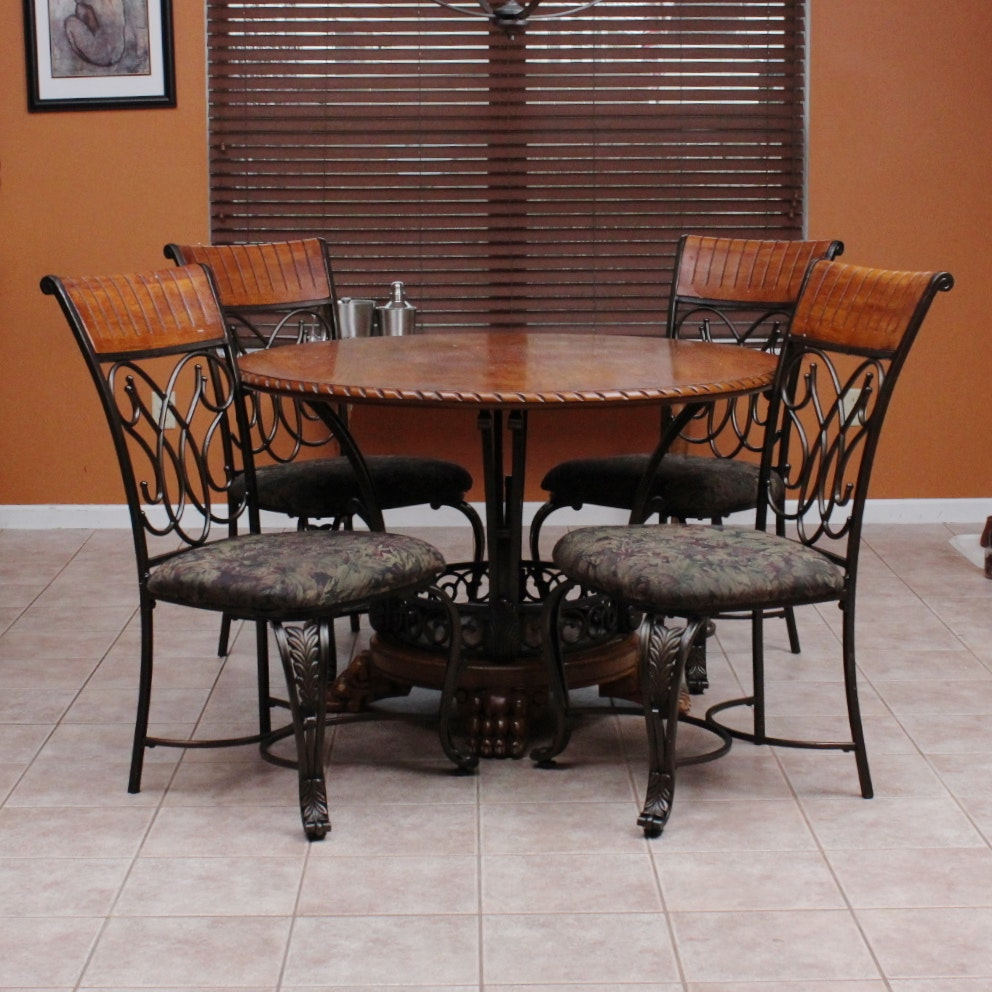 Ashley Furniture Oak Veneer And Wrought Iron Dinette Set ...
