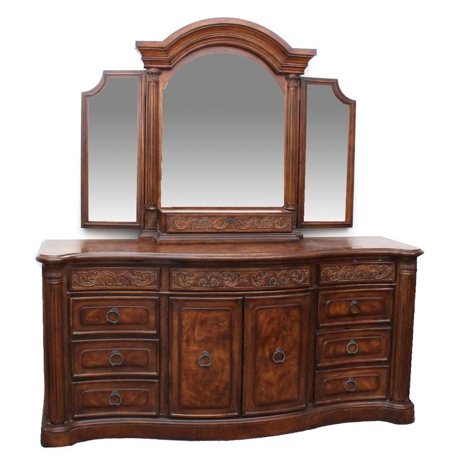 Collezione Europa Walnut Veneer Dresser With Mirror EBTH - Collezione europa bedroom furniture collezione europa bedroom