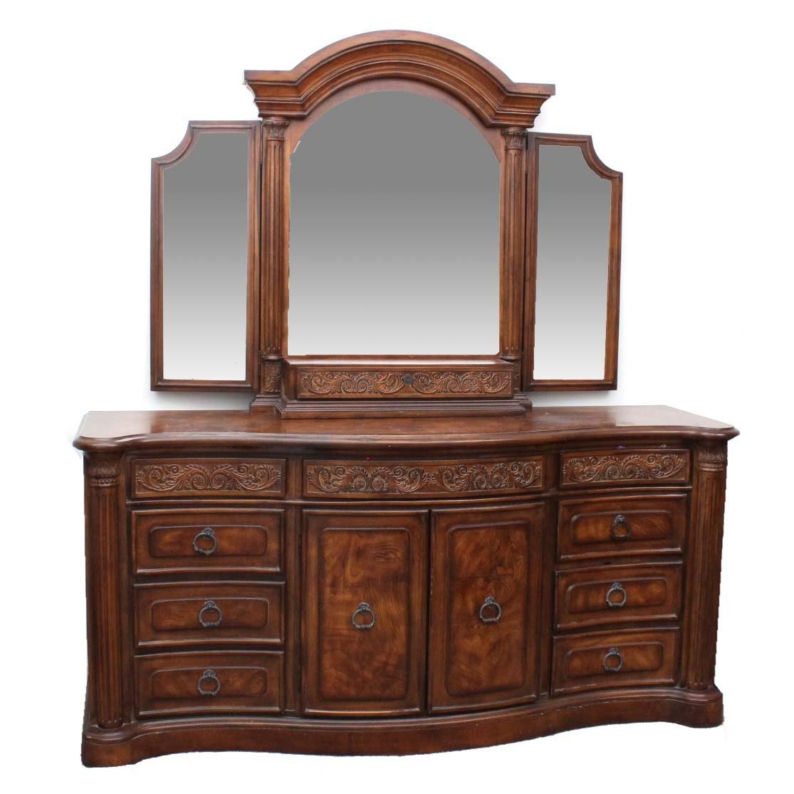 Collezione Europa Walnut Veneer Dresser With Mirror
