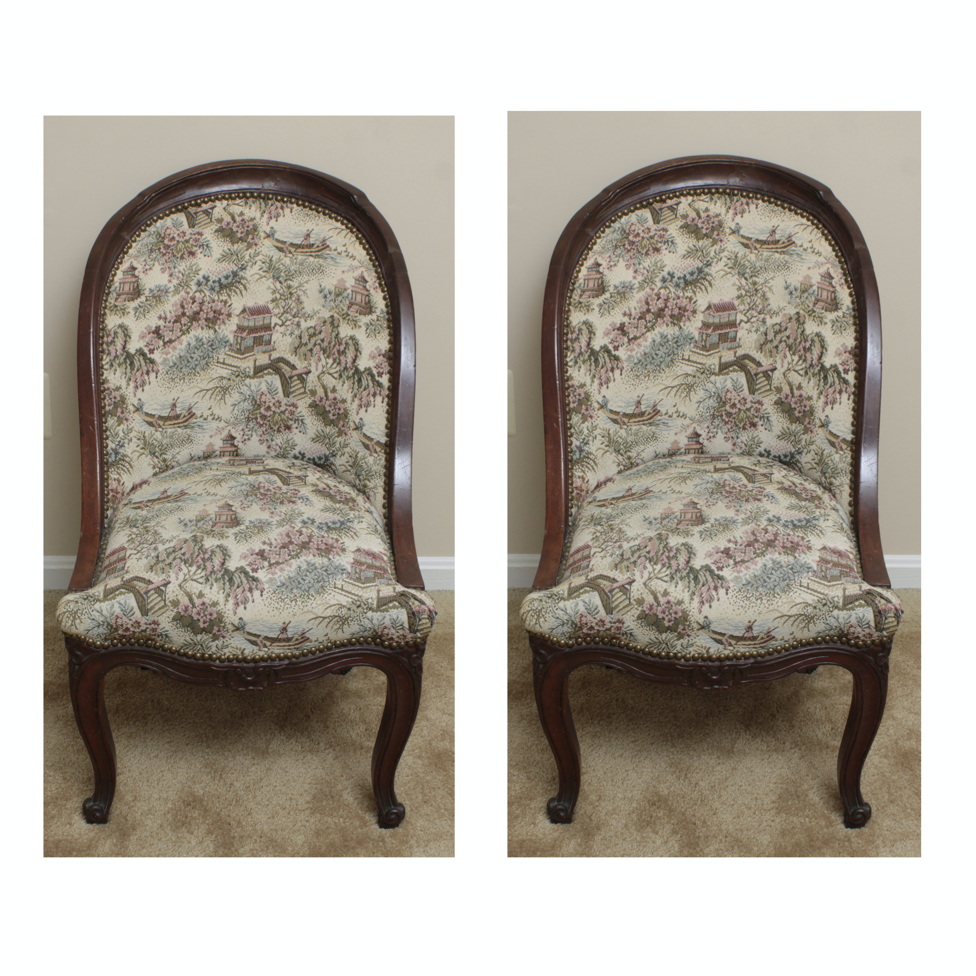 Pair Of Antique Accent Chairs With Chinoiserie Upholstery ...