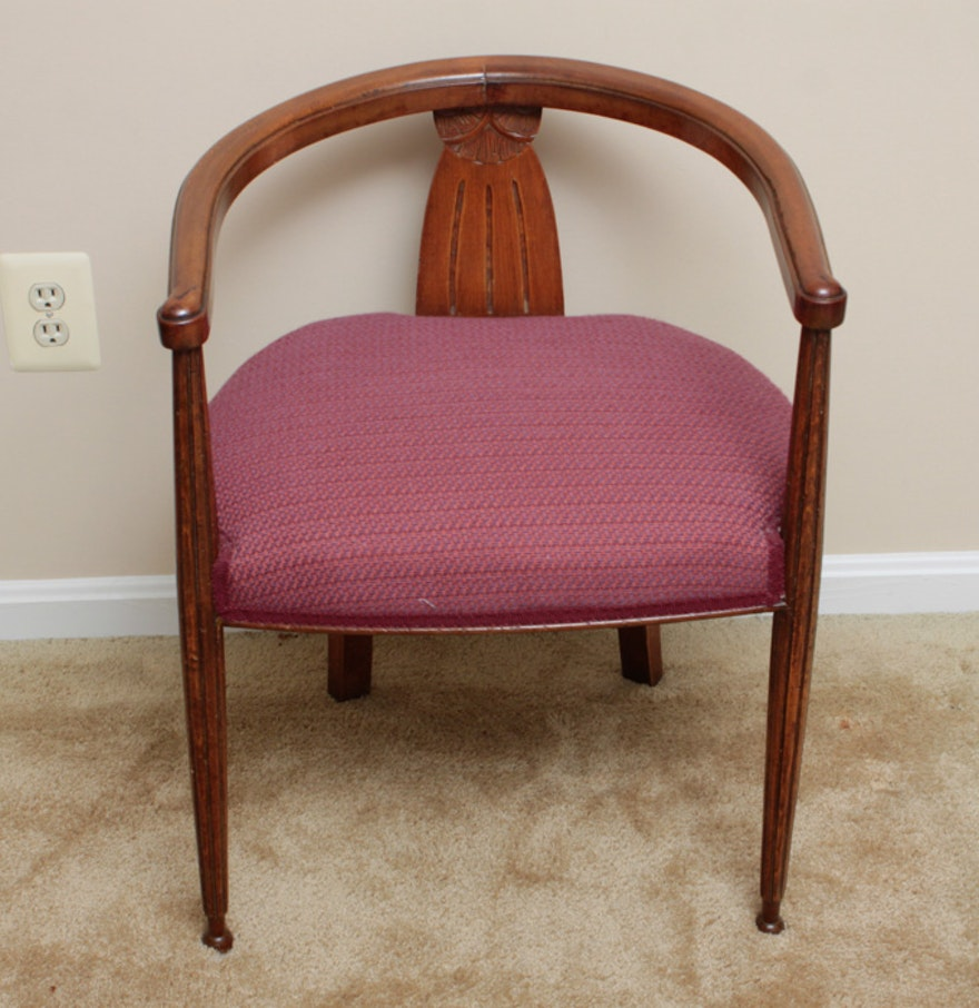 Antique Wooden Carved Chair ~ Antique carved wood barrel chair ebth