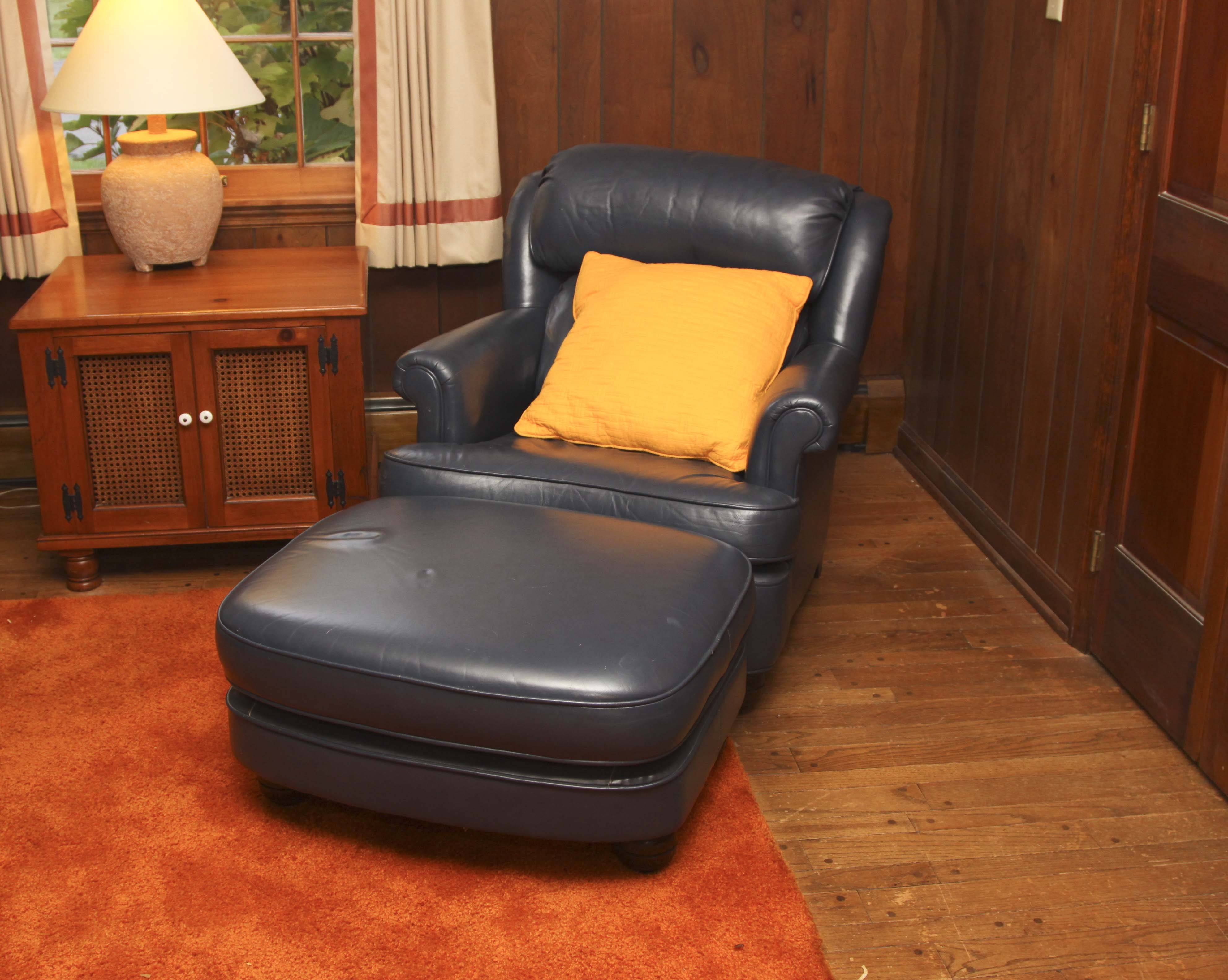 Navy Blue Leather Chair And Ottoman ...