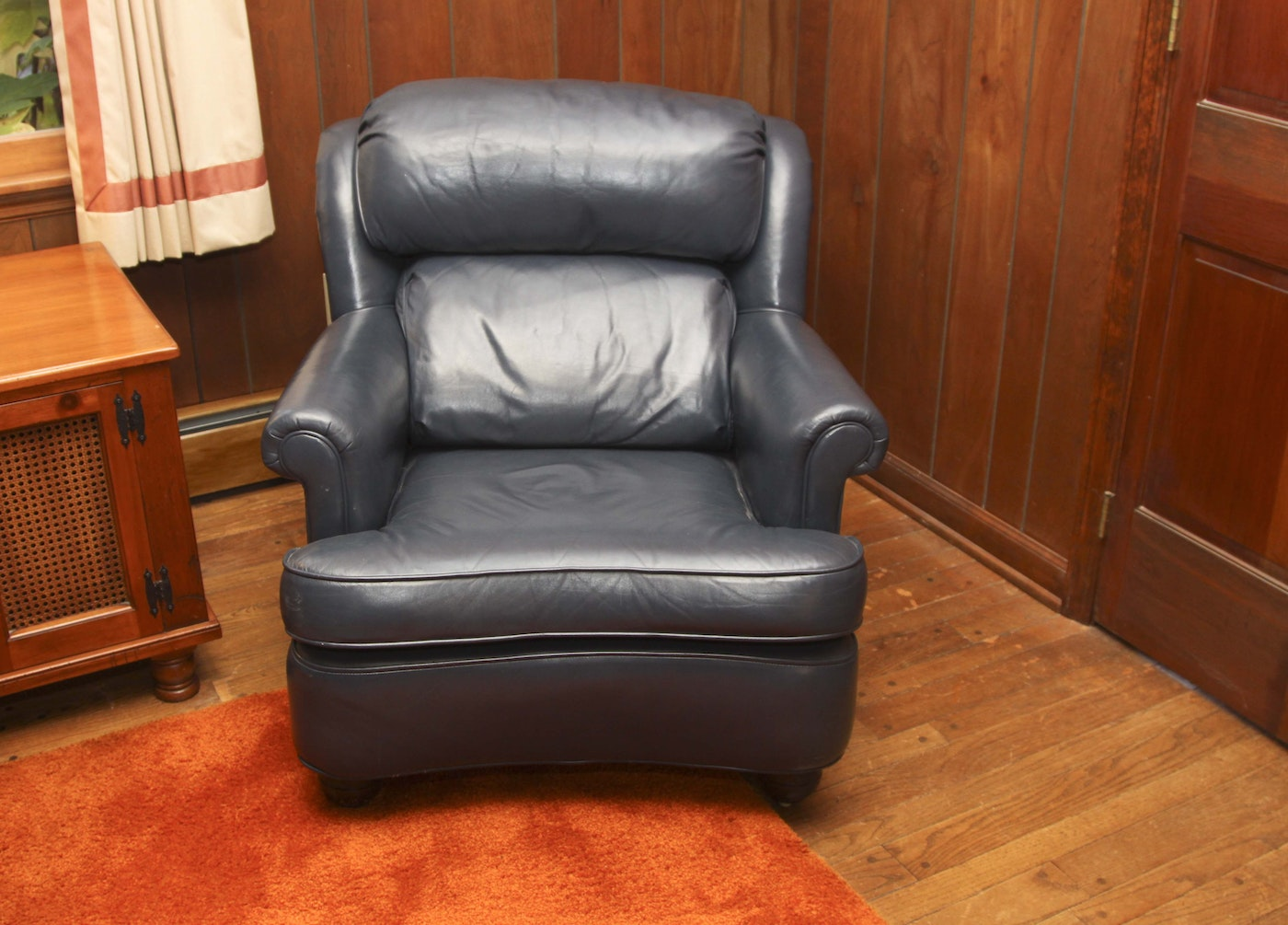 Navy blue leather chair and ottoman ebth for Navy blue chair and ottoman