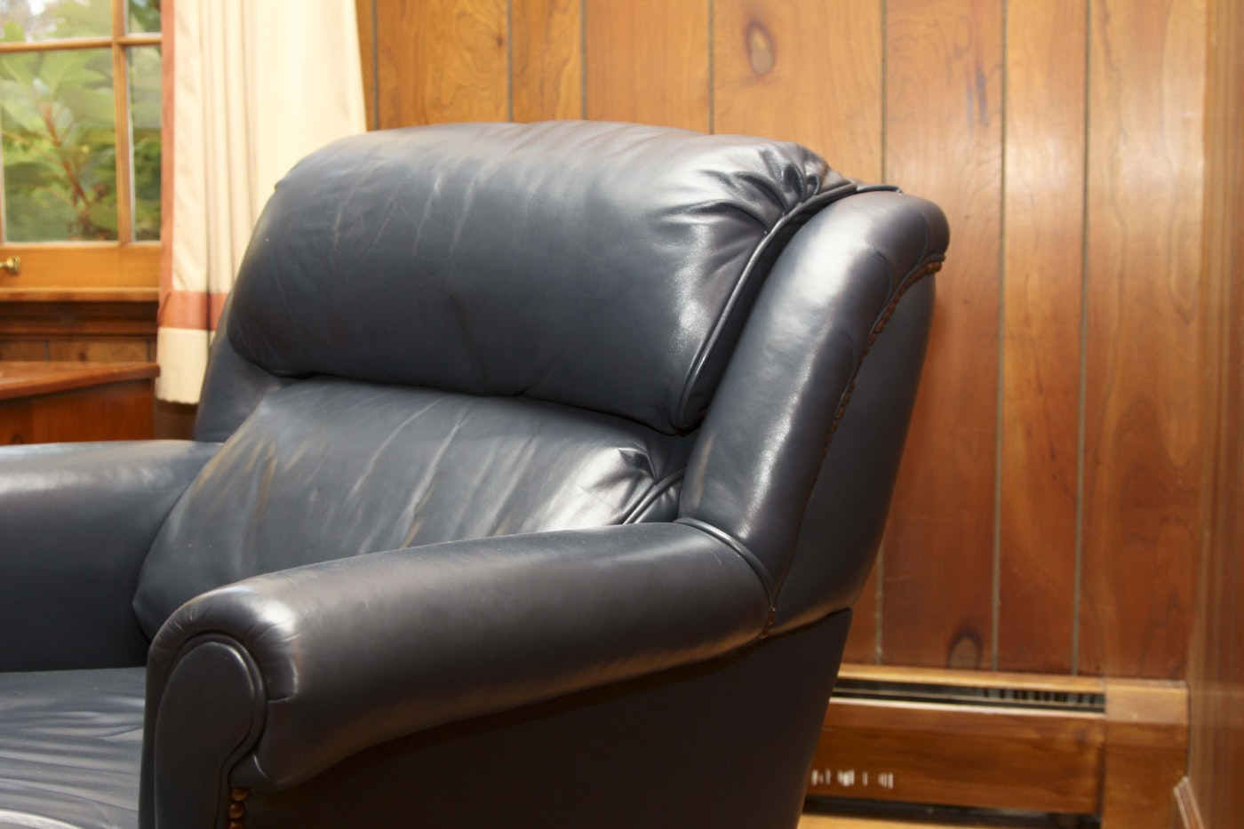 Navy Blue Leather Chair And Ottoman Ebth