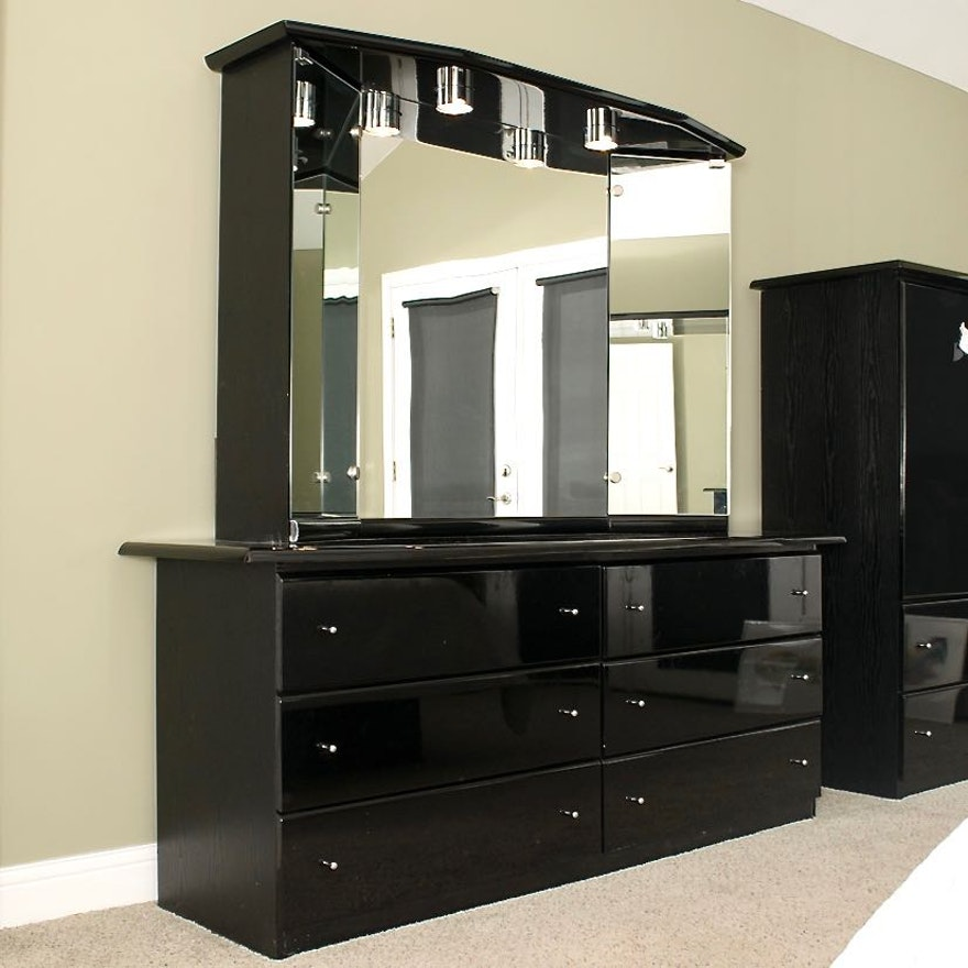 Millenium Black Lacquer Dresser With Mirror