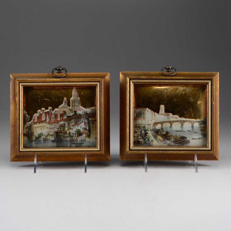 Two Vintage Sungott Art Studios Decoupage Wall Art : EBTH