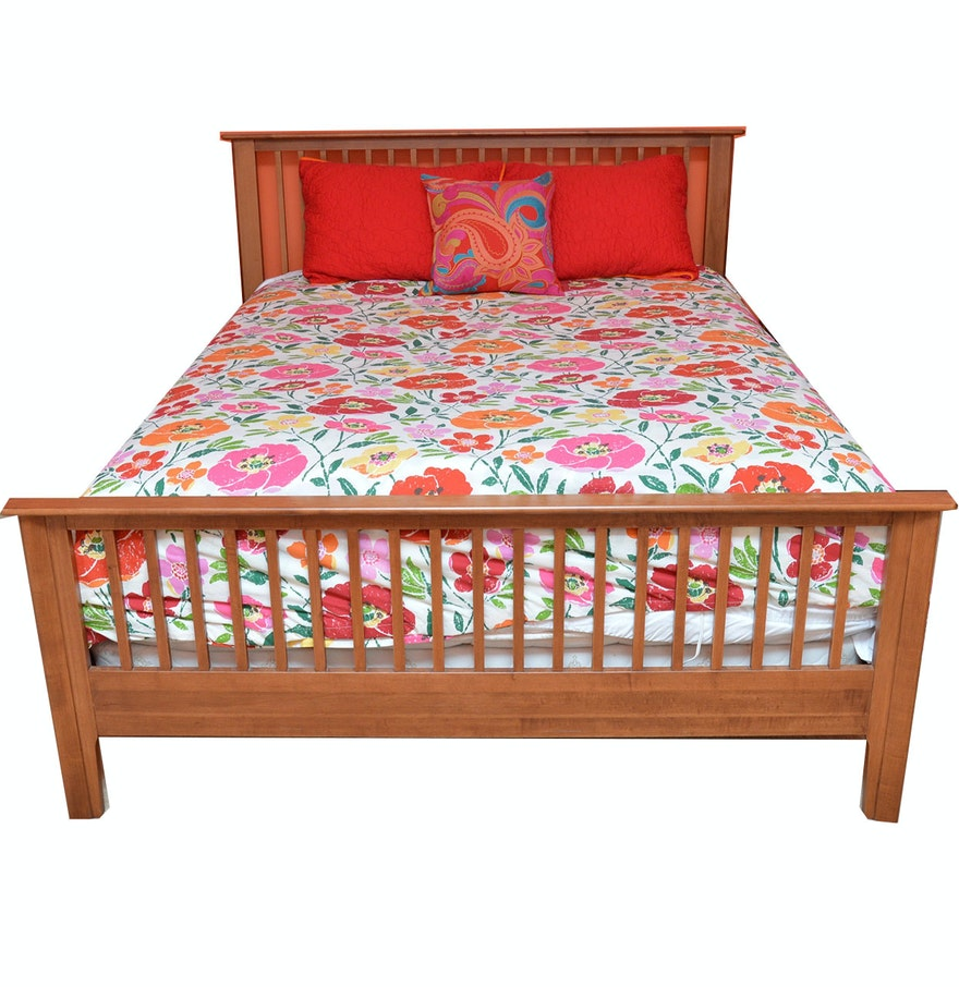 mission style queen bed frame by nadeau with queen mattress