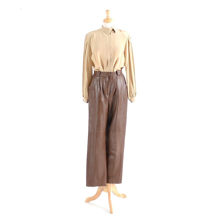 712a285c3361df Donna Mizar Brown Leather Pants and a Liz Claiborne Silk Blouse : EBTH