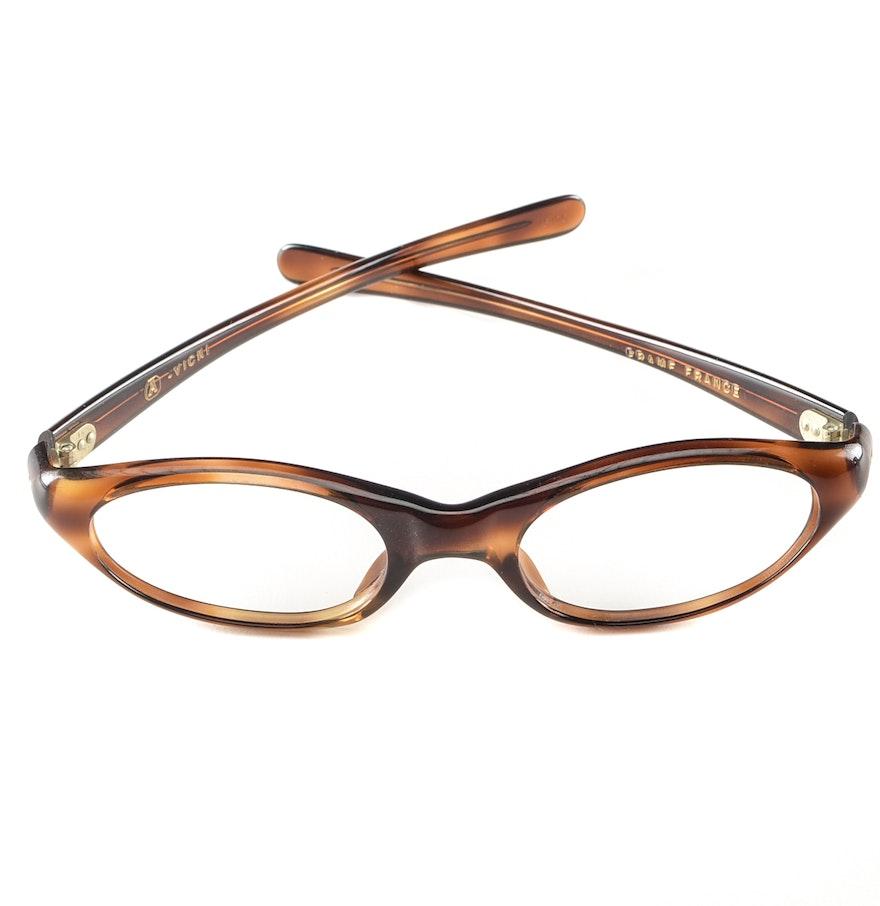 Eyeglass Frames On Consignment : Mid-Century Tortoise Lucite Frame Eyeglasses : EBTH