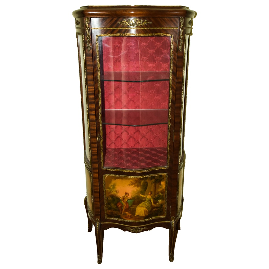 Vintage Hand Painted Curio Cabinet