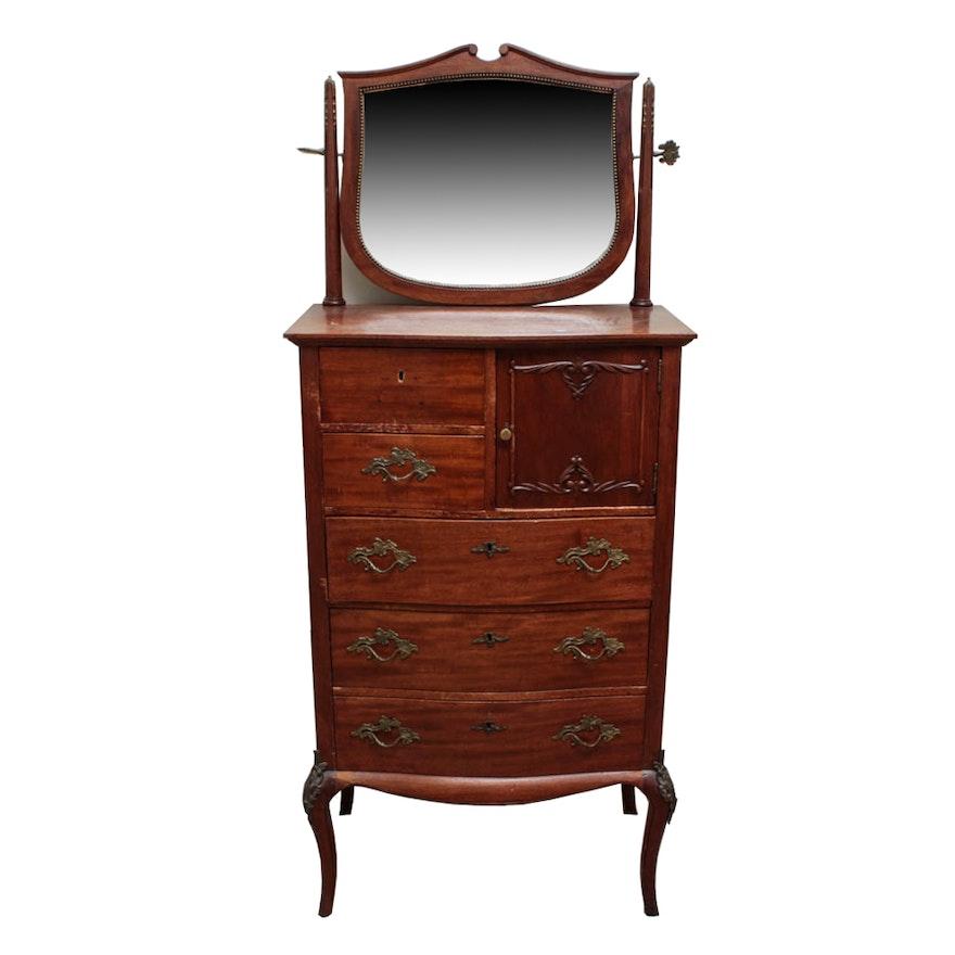 Antique Highboy Dresser With Hatbox