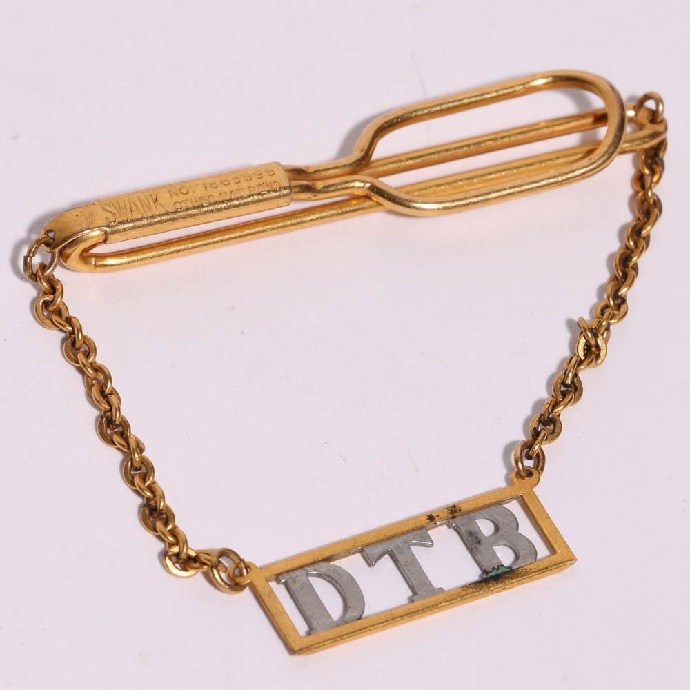 gold tone monogrammed tie bar ebth