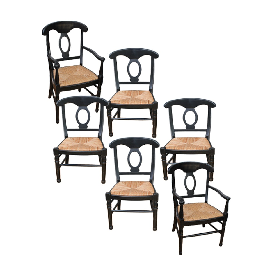 Set Of Six Wooden Chairs With Woven Rush Seats EBTH