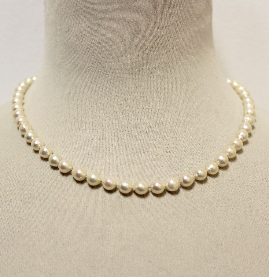 Pearl Necklace Clasps: Pearl Necklace With 14K Gold Clasp : EBTH