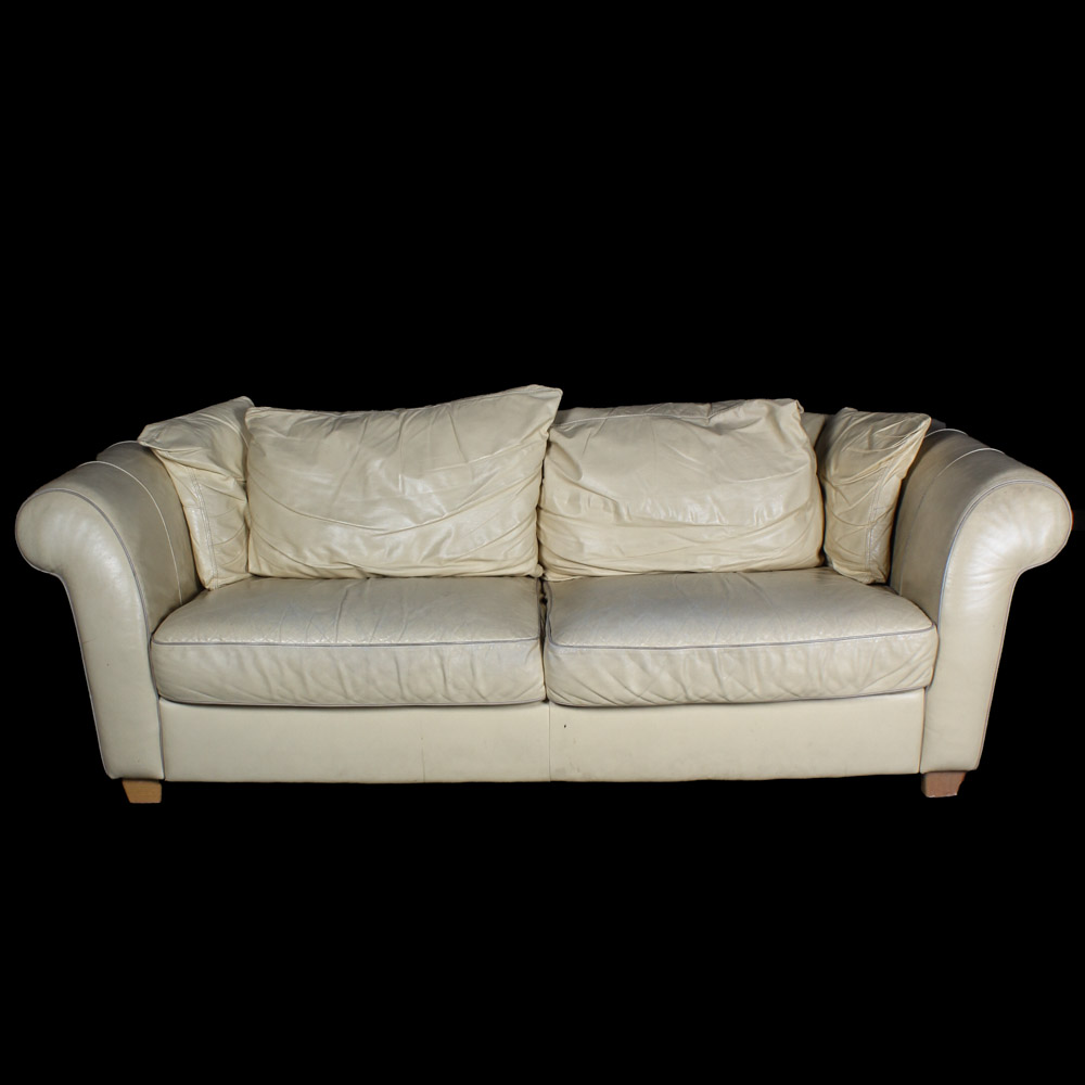 Pale Yellow Leather Couch