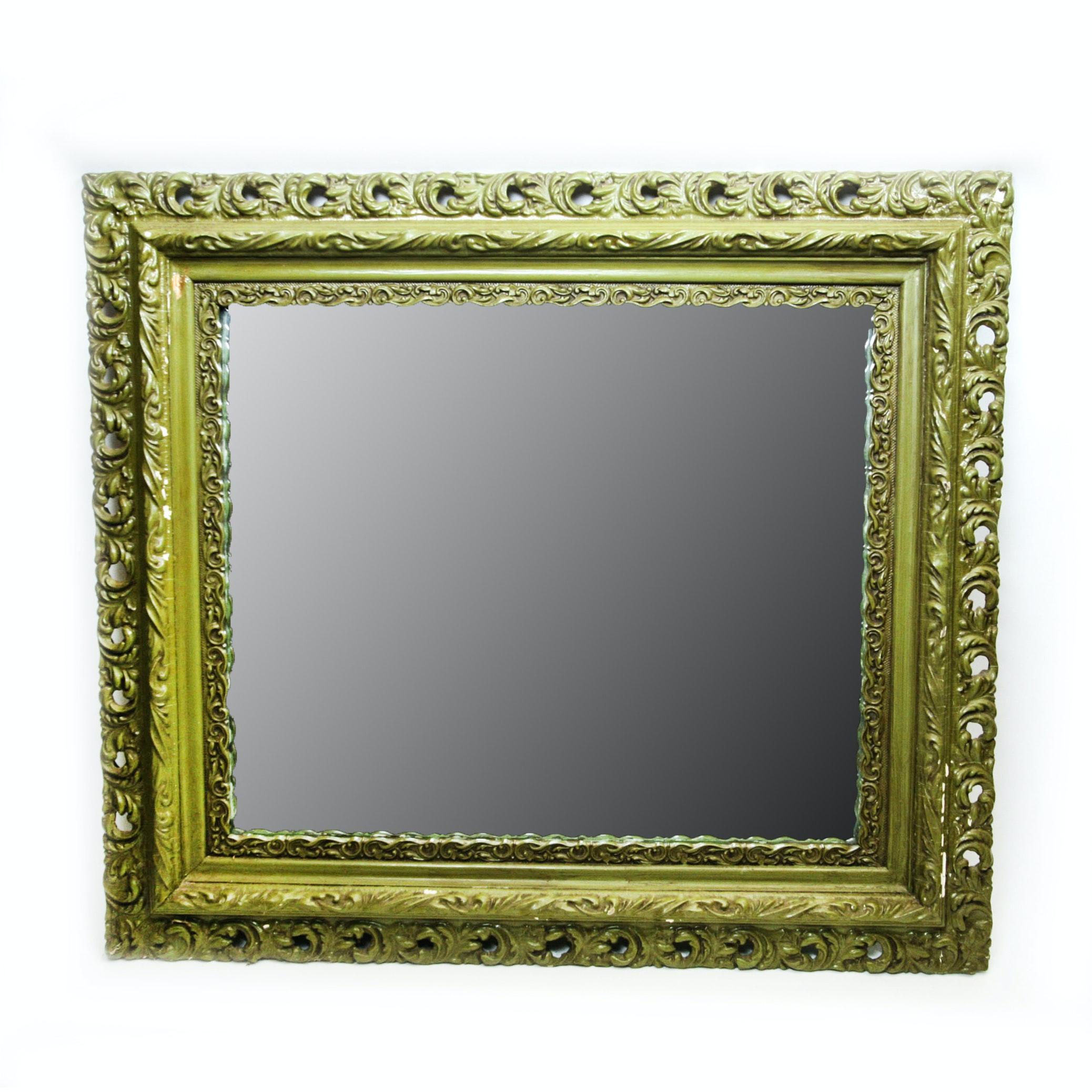 Green Painted Metal Vine Frame Arch Mirror Ebth